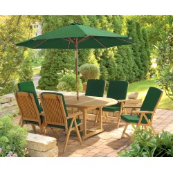 Brompton Extending 1.2 - 1.8m Table & 6 Bali Recliner Chairs, Teak Set