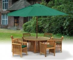 Teak Patio Dining Set with Aero Round Table 1.5m & 6 Chairs