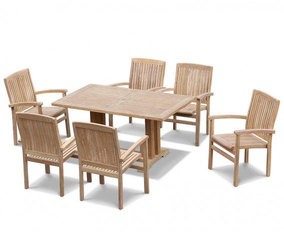 Teak Patio Set with Cadogan 6 Seater Table 1.5m & Bali Stacking Chairs