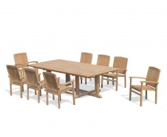 8 Seater Patio Set with Hilgrove Rectangular Table 2.6m & Bali Stacking Chairs