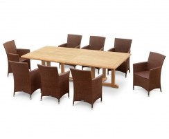 Hilgrove 8 Seater Rectangular Table 2.6m & Riviera Armchairs