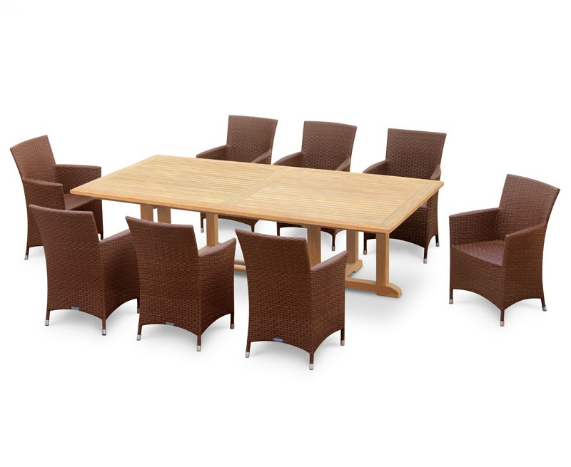 Hilgrove 8 Seater Rectangular Table 2.6m & Riviera Armchairs