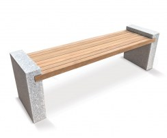 Gallery Teak and Granite Bench - 1.9m Silver Grey
