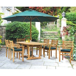 Brompton Extending Oval Table 1.2-1.8m & 6 Yale Stacking Chairs Set