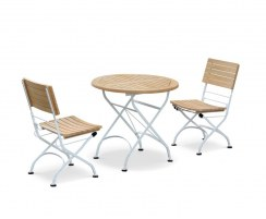 2 Seater Folding Bistro Set with Round Table 0.8m & Side Chairs, Satin White