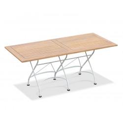 Folding Rectangular Bistro Table, Satin White – 1.8m