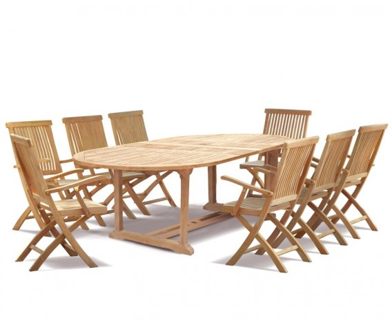 Brompton 8 Seater Garden Set with Extending Table 1.8-2.4m & Folding Chairs