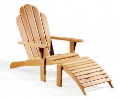 Teak Adirondack Chair with Leg Rest