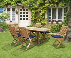 Hilgrove Rectangular Dining Table 1.8m & 6 Bali Folding Side Chairs