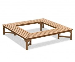 Teak Square Tree Bench – 2.2m