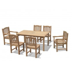 Sandringham 6 Seater Rectangular Table 1.5m, Ascot Side Chairs & Armchairs