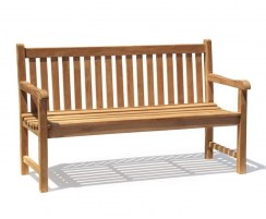 Windsor 3 Seater Teak Garden Bench, 5ft Park Bench – 1.5m