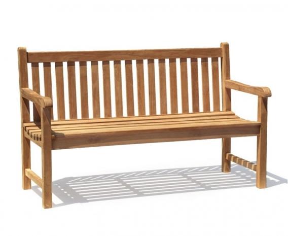 Windsor 3 Seater Teak Garden Bench, 5ft Park Bench – 1.5m