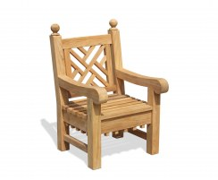 Chiswick Decorative Garden Chair, Teak Outdoor Armchair