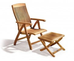 Bali Garden Reclining Chair with footrest, teak