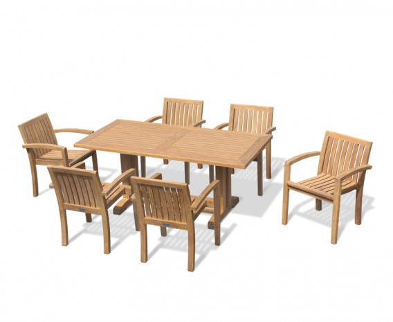 Cadogan Pedestal Table 1.8m with 6 Monaco Stacking Chairs