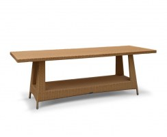 Riviera Large Rattan Rectangular Table, Glass-Topped – 0.8 x 2.2m