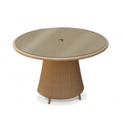 Eclipse Rattan Glass-Topped Round Table – 1.2m