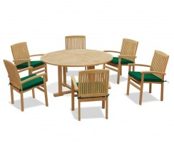 Teak Garden Furniture Set with Canfield Round Table 1.5m & 6 Bali Stacking Chairs