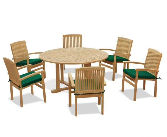 Canfield Round Table 1.5m and 6 Bali Stacking Chairs