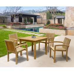 Monaco 4 Seat Teak Patio Set with Stackable Chairs