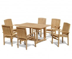 Teak Patio Set With Hilgrove Rectangular Table 1.5m U0026 6 Bali Stacking Chairs