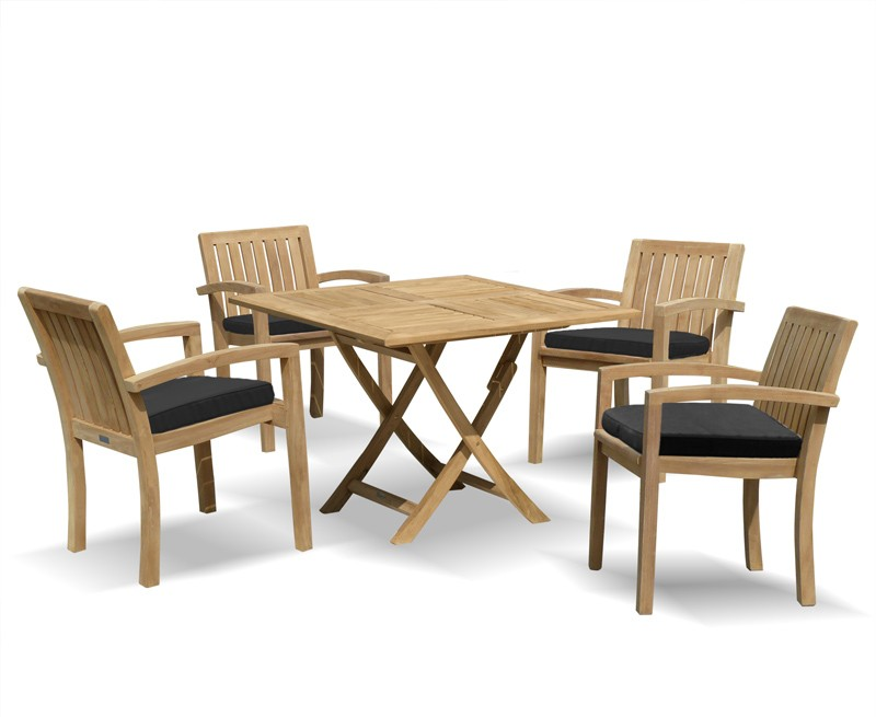 Square Garden Table And 4 Chairs: Teak Garden Dining Set With Folding Square Table & 4
