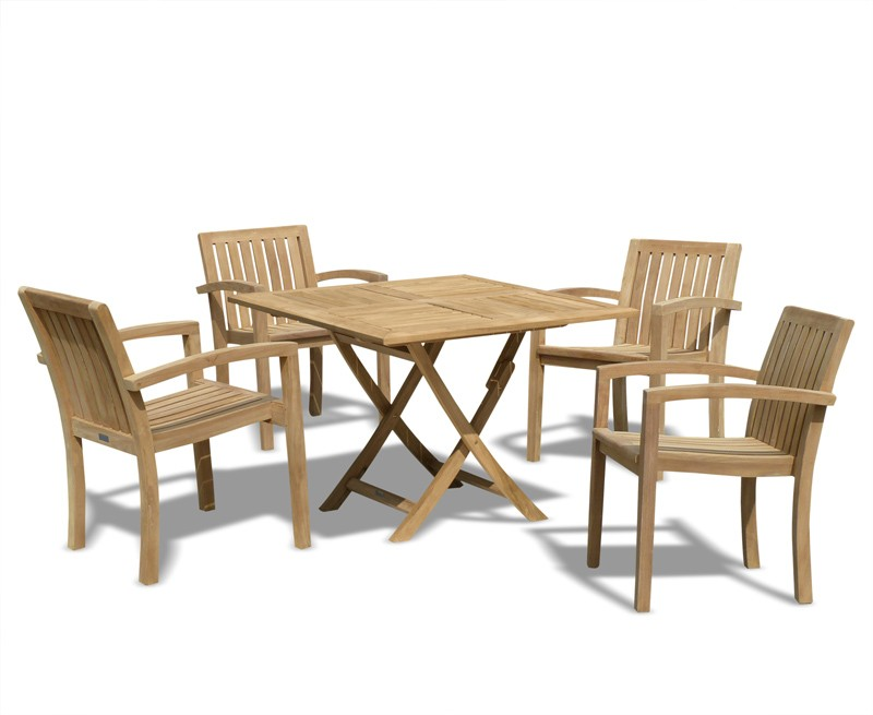 Teak Garden Dining Set With Folding Square Table & 4