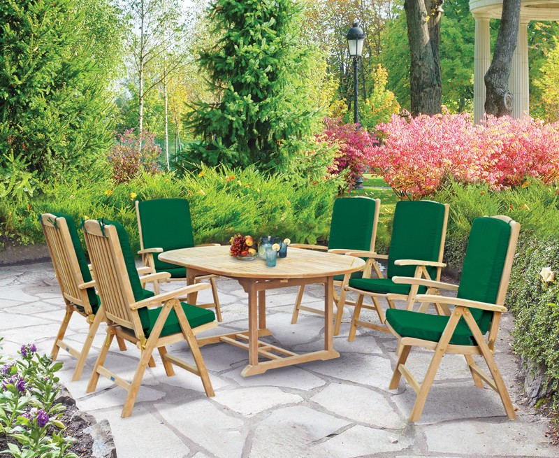 Brompton Extending 1.2 - 1.8m Table & 6 Cheltenham Recliners Set