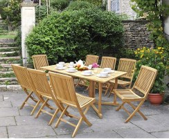 Shelley Outdoor Drop Leaf Table and 8 Rimini Chairs