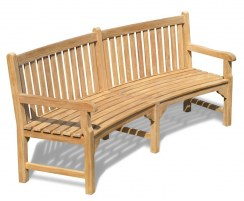 Connaught Teak Curved Park Bench, Street Bench