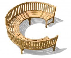 Stupendous Henley Teak 3 4 Circular Curved Garden Bench Gmtry Best Dining Table And Chair Ideas Images Gmtryco