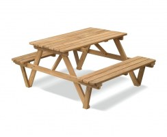 Luxury 4ft Picnic Bench, Wooden Pub Bench, Teak – 1.2m