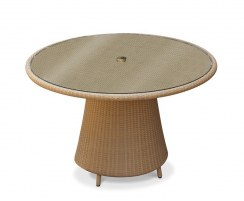 Eclipse Round Glass-Top 1.2m Table & 4 Riviera Armchairs, Rattan Set