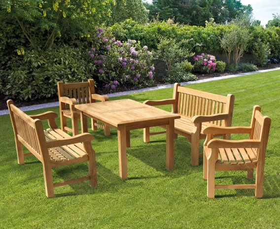 Balmoral Rectangular Teak Table 1.5m, Benches & Chairs