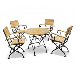 Teak Folding Bistro Round 0.8m Table & 4 Armchairs Dining Set