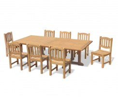 Hilgrove 8 Seater Garden Table 1.2 x 2.6m & Dining Chairs