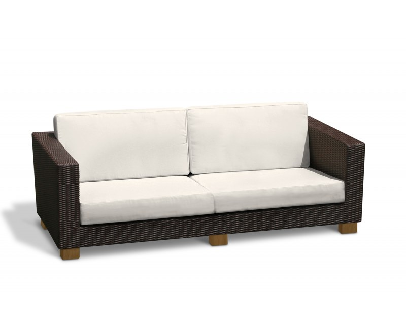 Sorrento Rattan Conservatory Sofa, 4 seater, Natural cushion