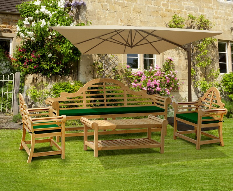 Lutyens-Style 2.25m Bench, Chairs & Coffee Table, Garden ...