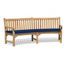 curved bench with cushion
