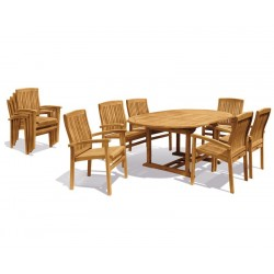 Brompton Extending 1.2 - 1.8m Table & 6 Bali Stacking Chairs Teak Set