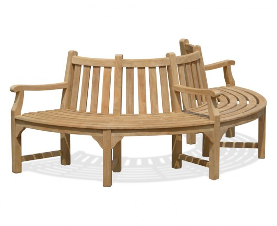 Teak Half Tree Bench, Semi-Circular Tree Seat with Arms