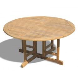 Berrington Round Teak Drop Leaf Patio Table – 1.5m