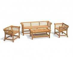 Lutyens Teak 1.95m Low Back Bench, Armchairs & Coffee Table Garden Set