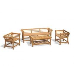 Lutyens Teak 1.95m Low Back Bench, Armchairs & Coffee Table Garden Set