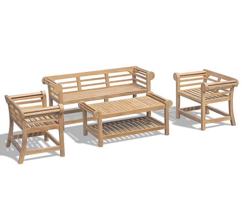 Lutyens Teak 1.65m Low Back Bench, Armchairs & Coffee Table Garden Set