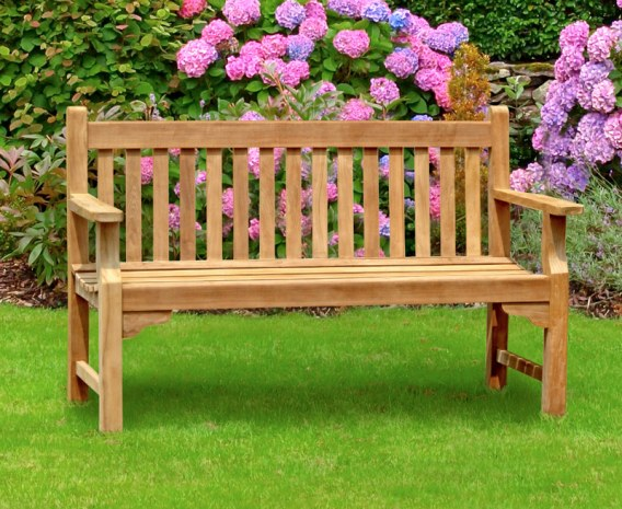 Taverners Teak Hardwood 5ft Garden Bench 1 5m