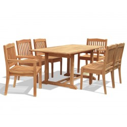 Hilgrove Teak Dining Set with Rectangular 1.5m Table & 6 Chairs