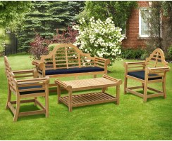 Lutyens-Style Teak 1.65m Bench, Armchairs & Coffee Table Outdoor Set