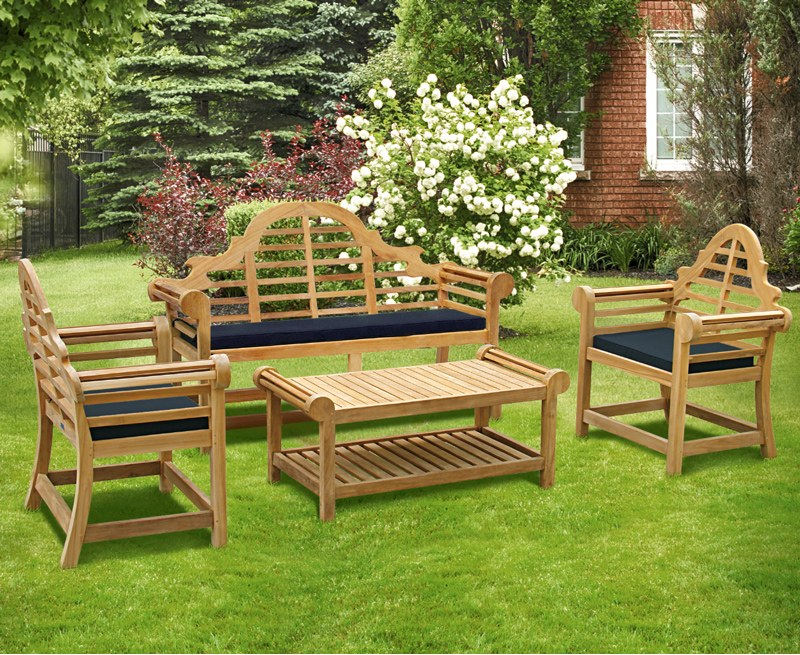 Lutyens-Style Teak 1.65m Bench, Armchairs & Coffee Table Outdoor Set